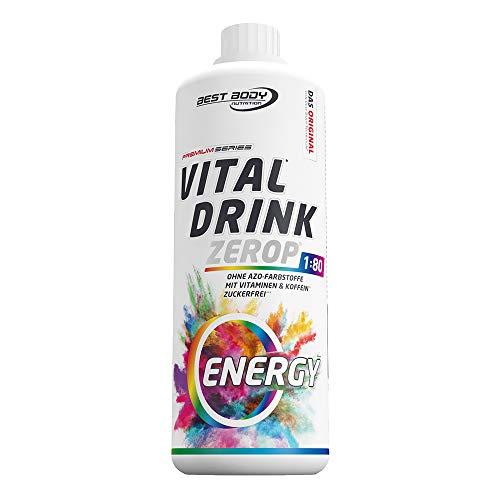 Best Body Nutrition Vital Drink Energy Sirup 60 mg Koffein, zuckerfreies Getränkekonzentrat, 1:80 ergibt 80 Liter Fertiggetränk, 1000 ml