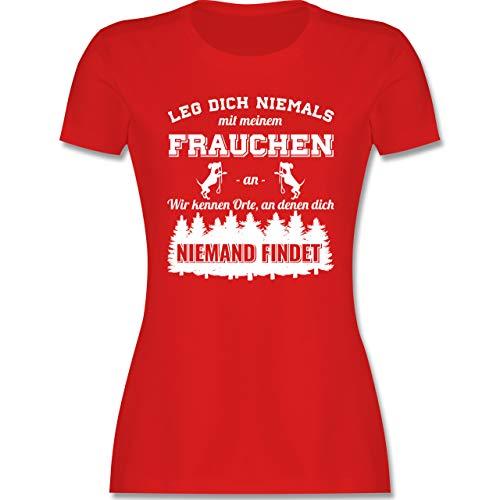 Hunde - Leg Dich Niemals mit Meinem Frauchen an - S - Rot - Staffordshire Bullterrier - L191 - Tailliertes Tshirt für Damen und Frauen T-Shirt