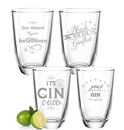 GRAVURZEILE 4er Set Montana GIN-Gläser - Nach mir die GINflut & Der Abend kann beGINnen - Witziges Geburtstagsgeschenk - Party-Set - GIN-Sprüche - GIN-Liebhaber - Geschenk für Partner & Freund