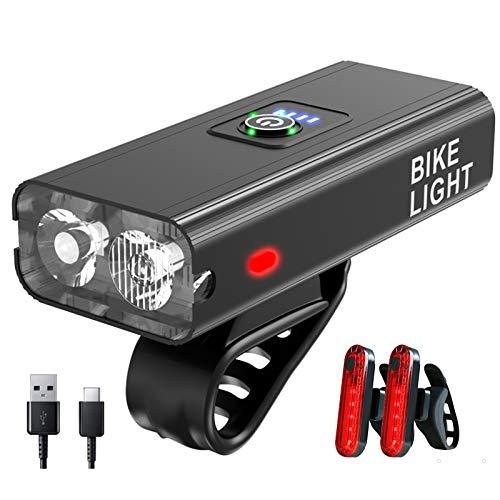 XVZ Fahrradlicht Set, Mountainbike licht led Set,6 Licht-Modi Aluminiumlegierung Super Bright USB wiederaufladbare 5200mAh Li-ion Licht Fahrradlichter(EIN Fahrradscheinwerfer und Zwei Rücklichter)