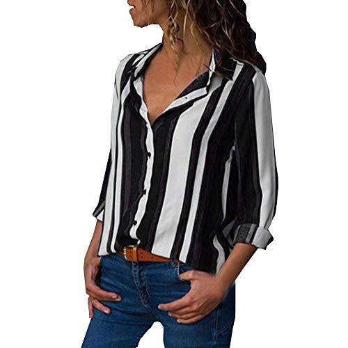 MRULIC Damen Shirt Tie-Bow Neck Striped Langarm Spleiß Bluse Gestreift Damen Tragen(V7-Schwarz,EU-42/CN-XL)