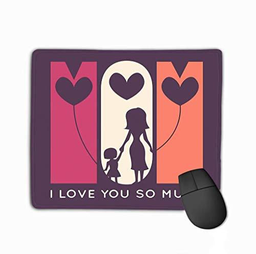 Alfombrilla para ratón Alfombrilla para ratón Feliz Día de la Madre Retro Tarjeta de felicitación Mamá de Vacaciones te Quiero Mucho Silueta de Ella