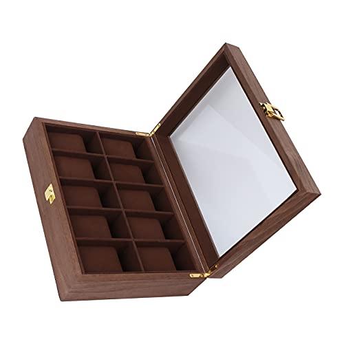 RBSD Almacenamiento de Relojes, Exquisita artesanía Cubierta de Vidrio Transparente Fácil Limpieza Caja de Reloj de Madera compuesta Organizador para Almacenamiento de Relojes para Joyas