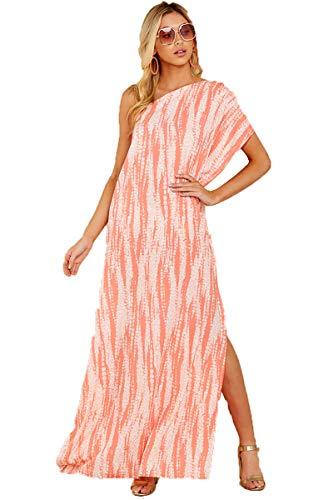 XIANGCHEN Vestido largo a rayas para mujer, estilo casual, suelto, estampado en diagonal.