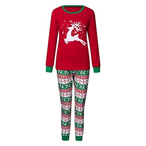 Zolimx Niño Navidad Santa Claus Ropa niñas Unisex Pijama Bebe Navidad Regalo Estampado de Navidad Manga Larga Vestido Estampado de Santa Claus Tops y Pantalones 2pc Rojo Padres e Hijos Niño