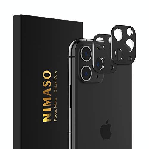 Nimaso iPhone 11 Pro/iPhone 11 Pro Max 用 カメラ レンズ 保護カバー アルミ合金/貼り付け簡単/衝撃吸収/剥がれ防止(ブラック)【2枚セット】