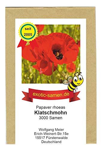 Klatschmohn - Papaver rhoeas - Bienenweide - Zier- / Arzneipflanze - 3000 Samen