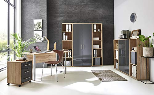 BMG-Moebel.de Büromöbel komplett Set Arbeitszimmer Office Edition Mini in Sonoma Eiche/Anthrazit Hochglanz (Set 5)