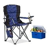 Relaxdays Pack de 2 Sillas Plegables Camping con Reposabrazos y Soporte para Bebidas, Poliéster, Azul y Negro, 93 x 77 x 52 cm