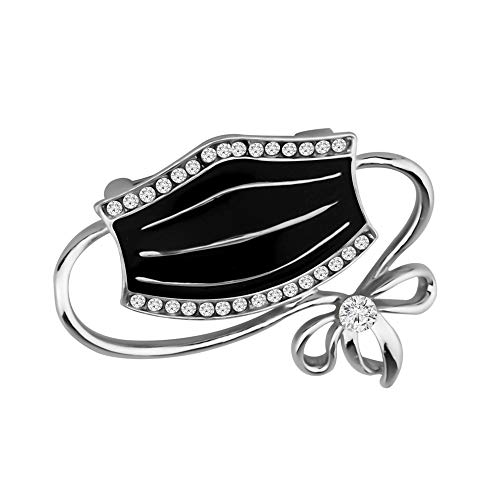 BAUNA Funny Social Distancing Jewelry Mask Brooch With Rhinestone 2020 Pandemic Gift (Mask Brooch-black)