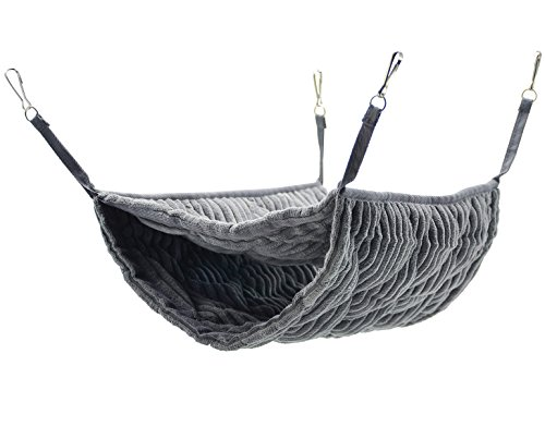 Niteangel Luxury Double Bunkbed Hammock, Fit 2 Adult Ferrets or 5 More Adult Rats (Gray)