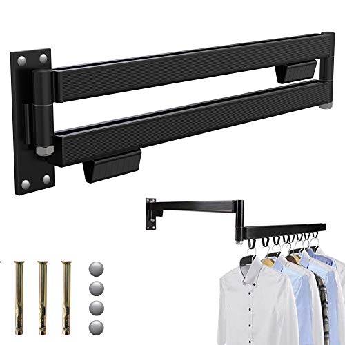 Wall Mounted Retractable Folding Wall Hanger Clothes Drying Racks Space-Saver Light-Duty Laundry Rack Easy to Install Design Balcony Mudroom Bedroom IndoorOutdoor Black