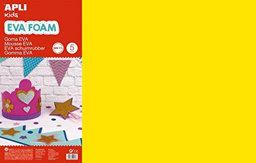 APLI Kids 12760- Goma EVA amarilla 600 x 400 mm 5 hojas