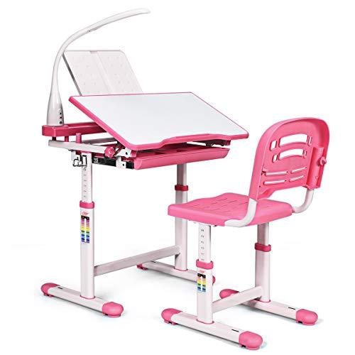 COSTWAY Bureau Enfant Ensemble Table et Chaise pour Enfants avec Lampe Hauteur Réglable Plaque de Table Inclinable pour Etude Travail Charge Max 80KG (Rose)