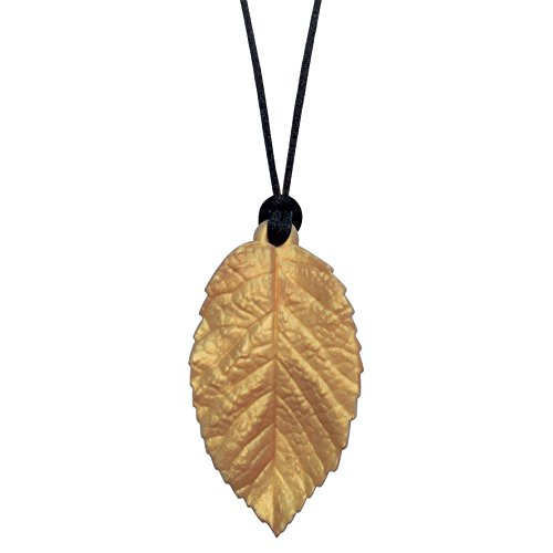 Munchables Chewable Leaf Necklace - Sensory Chew Necklace for Girls (Gold)