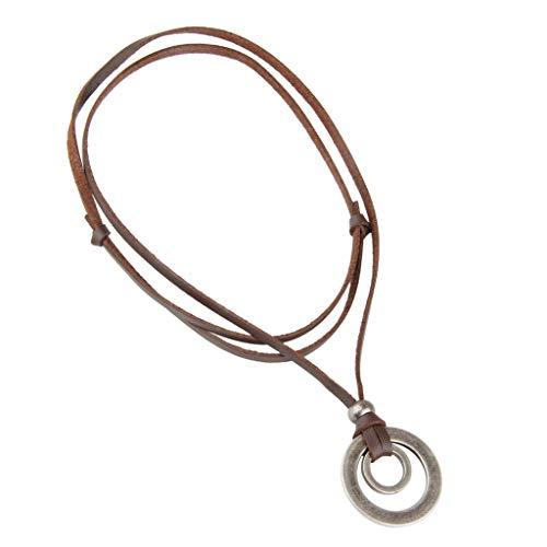 ペンダント 丸いリング型ネックレス セーターアクセサリー 軽量 調節可能 レトロ シャツ スーツ