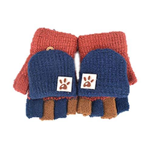 Fingerhandschuh Herbst und Winter Kleinkind Baby Warme Handschuhe Fünf Finger Fäustlinge verdicken Patchwork Unisex Mädchen Jungen Fahrradhandschuhe Winterhandschuhe 2-6 Jahre alt (B)