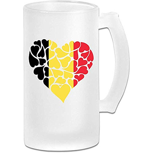 België Vlag Hart Liefde Frosted Glas Stein Bier Mok, Pub Mok, Drank Mok, Gift voor Bier Drinker, 500Ml (16.9Oz)