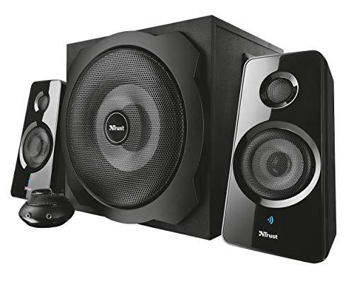 Trust Tytan 2.1 Lautsprecher Set mit Subwoofer aus Holz, Fernbedienung, 120 Watt, für PC, Laptop, TV-Gerät, Smartphone und Tablet, schwarz