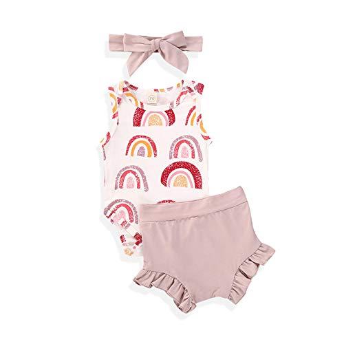 Newborn Baby Girl Rainbow Outfit Clothes Sleeveless Bodysuit Romper+Ruffles Short+Headband Clothes (Rainbow Pink 2, 18-24 Months)