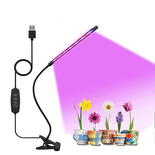 Pflanzenlampe LED 10W Pflanzenlicht 20 LEDs Pflanzenleuchte Rot & Blau Wachstumslampe für Sukkulente, Wachsen licht Mit Clip & Zeitschaltuhr Grow Lampe 9 Arten von Helligkeit