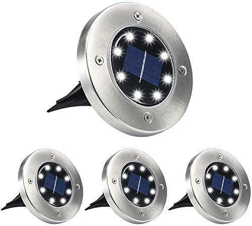 Aogist Solar Ground Lights ,8 LED Garden Lights Patio Disk Lights In-Ground Outdoor Landscape Lighting for Lawn Patio Pathway Yard Deck Walkway 4 Pack