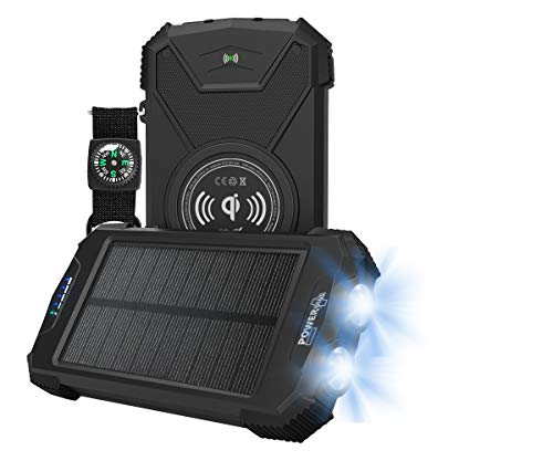 Power Plus Beluga Solar Powerbank 10.000 mAh | Qi draadloos opladen | USB-uitgangen en type C input/output max. Vermogen: 10,5 W.