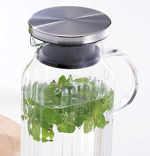 『iwaki(イワキ) 耐熱ガラス ピッチャー 冷水筒 角形 1L スクエアサーバー把手付き 麦茶 お茶 ポット KT296KT-SV』の2枚目の画像