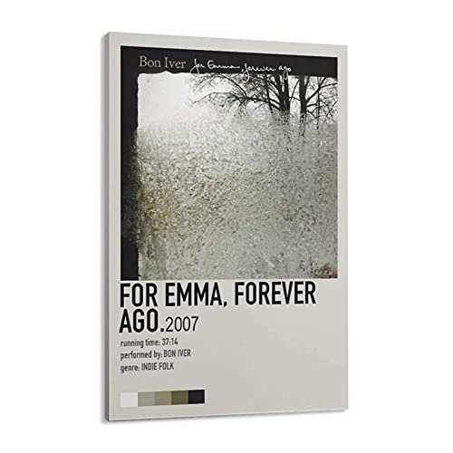 Para Emma, Forever Ago - Bon Iver (2007) - Póster de pared para decoración de sala de estar, dormitorio, marco de 40 x 60 cm