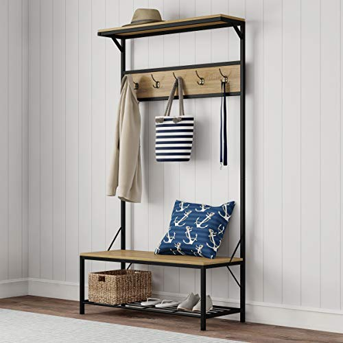 """Lavish Home Metal Entryway Bench Hall Tree with Seat, Coat Hooks and Shoe Storage-Rustic Farmhouse Design Freestanding Mudroom Furniture, 39"""" W"""