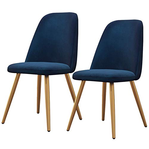 2× Dining Chairs Backrest Soft Cushion Tulip Style Ergonomic Office Chair Metal Chair Legs Upholstered Seat Dining Office Lounge Chair (Color : Blue)