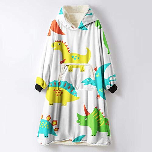 Sweatshirt, poncho, warm, winter, cartoon, dier, dinosaurus, pluche, sherpa, bedrukt, draagbaar, zachte trui voor volwassenen, vrouwen, mannen, cadeau