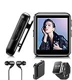 MP3 BENJIE 32GB MP3 Bluetooth 1.5' Reproductor de MP3 Pantalla Táctil Completa HiFi Sin Pérdida de Sonido MP3 Running, FM Radio, Grabadora de Voz con Auriculares para Amantes del Deporte y la Música