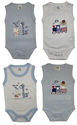 4 Body sin mangas de verano para bebé de algodón – Paquete de 4 Combinación 2 6- 9 meses