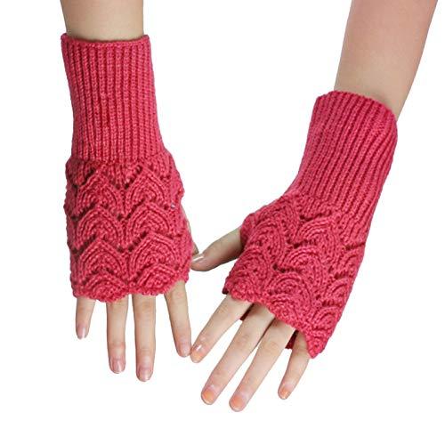 Guanti caldi invernali, guanti senza dita invernali da donna di colore solido di modo scaldamani guanti lavorati a maglia - rosa rosso