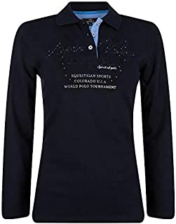 HV POLO Aspen Long Sleeve Polo Navy Ladies Horse Rug