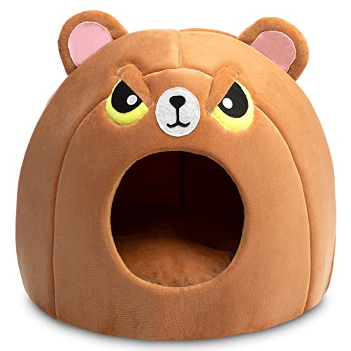 Hollypet Pet Bed Warm Cave Nest Sleeping Bed Puppy House for Cats and Small Dogs, Angry Brown Bear