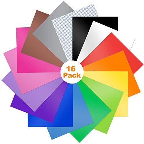 16 Stück Vinylfolie, Plotterfolie Folie Vinyl, DIY Bastelwerkzeug Set, Selbstklebende Vinylfolie, Vinyl Klebefolie, Vinylblätter zum Basteln und Aufkleben auf Glatten Oberflächen 30x25cm