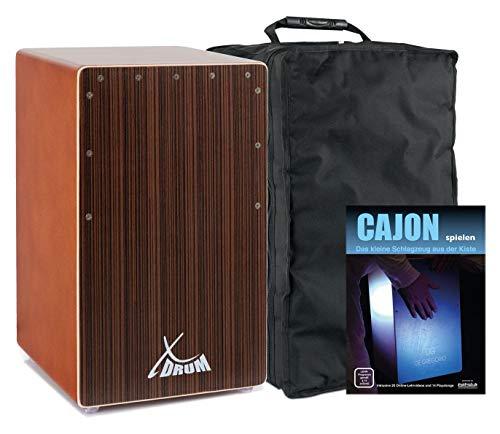 XDrum Cajon El Bajo Bass Port Cocoa Brown/Ebony Set (hochwertige Cajon mit Bass POrt, Edelholz-Furnier-Schlagflächen & fest installiertem Snare Teppich inkl. Gigbag & Cajonschule für Einsteiger)