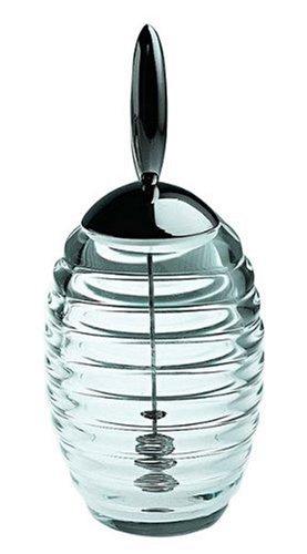 Alessi Honey Pot TW01 Dosificador de Miel de Diseño con Dispensador, Vidrio y Acero Inoxidable