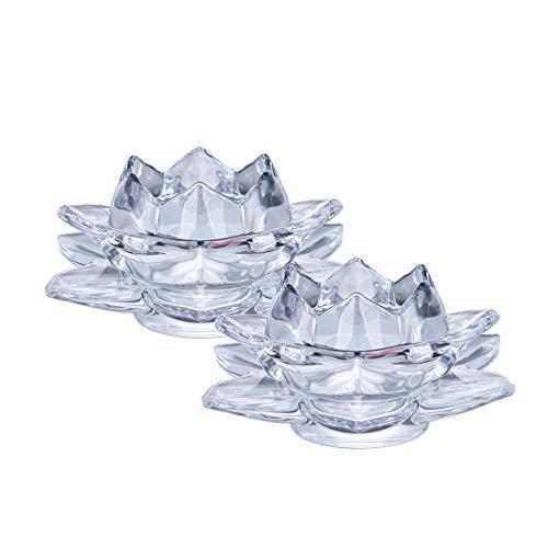 LONGWIN Portavelas de cristal con forma de loto para velas de té,...