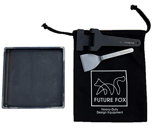 FUTURE FOX 鉄板 キャンプ ソロキャンプ アウトドア 厚さ 4.5mm 縁あり 17×17×2cm 1.3kg シングルバーナーにぴったりサイズ 【南信州発アウトドアブランド】