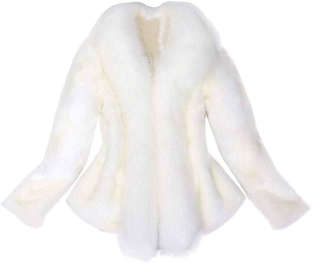 Petite Plus Size Faux Fur Jacket Women, NRUTUP Furry Winter Fur Coat Plush Crop Jacket Elegant Ladies Warm Party Outwear