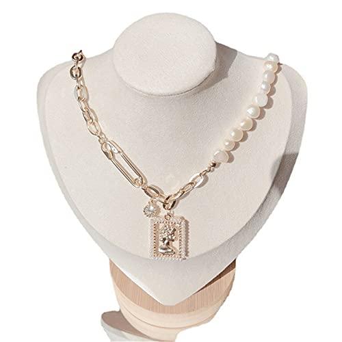 FPOJAFVN Collar Colgante Cuadrado Geométrico Collar De Perlas De Agua Dulce De Moda Regalos De Joyería Personalizados para Mujeres,Rojo