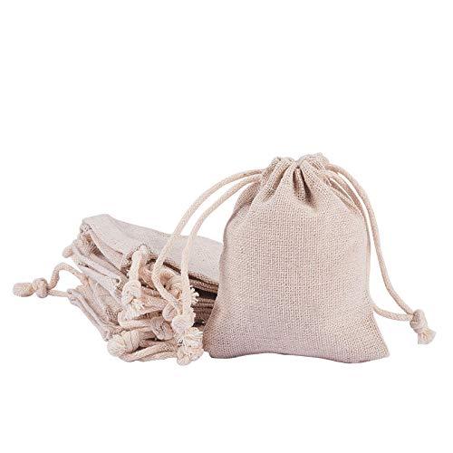 Bolsas de arpillera con cordón para joyas, bolsas para regalos de boda, fiestas, manualidades, reutilizables, bolsas de tela para regalo de bebé, 60 unidades