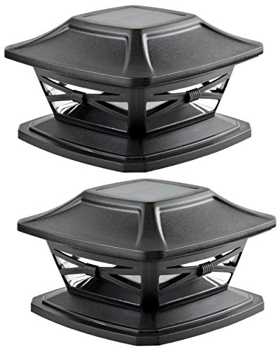 Davinci Lighting Flexfit Solar Outdoor Post Cap Lights - One-Size-Fits-All Base for 4x4 5x5 6x6 Wooden Posts - Bright LED Light - Slate Black (2 Pack)