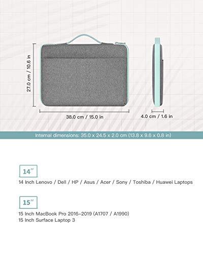 Inateck 14 Zoll Stoßfestes Laptop Tasche Hülle Wasserdicht Notebook Sleeve Case Schutzhülle Kompatibel mit 15 Zoll MacBook Pro 2016-2019,14