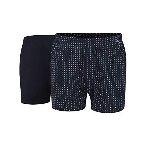 Götzburg Herren Boxershort, Unterhose, Shorts - Unterwäsche - Baumwolle, Single Jersey, Navy, Bedruckt, mit Eingriff, 2er Pack 9