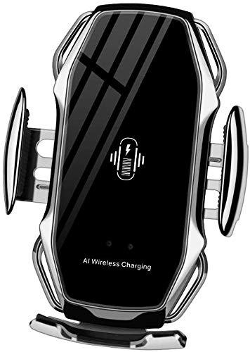 Cargador inalámbrico A5 para Coche con Sensor de Infrarrojos – Carga rápida de hasta 10w con sujeción automática – Sujeción Flexible y rotación 360º - Compatible con Smartphones - Color Plata