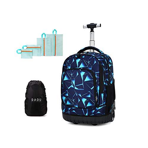 Maleta cabina trolley bolsa para mujer o hombre, regalo de vuelta a la escuela, mochila con ruedas, maleta, equipaje, cabina, viaje, escuela, bolso para niño o niña, deporte, L (Azul) - DYMY-TRO-15-12